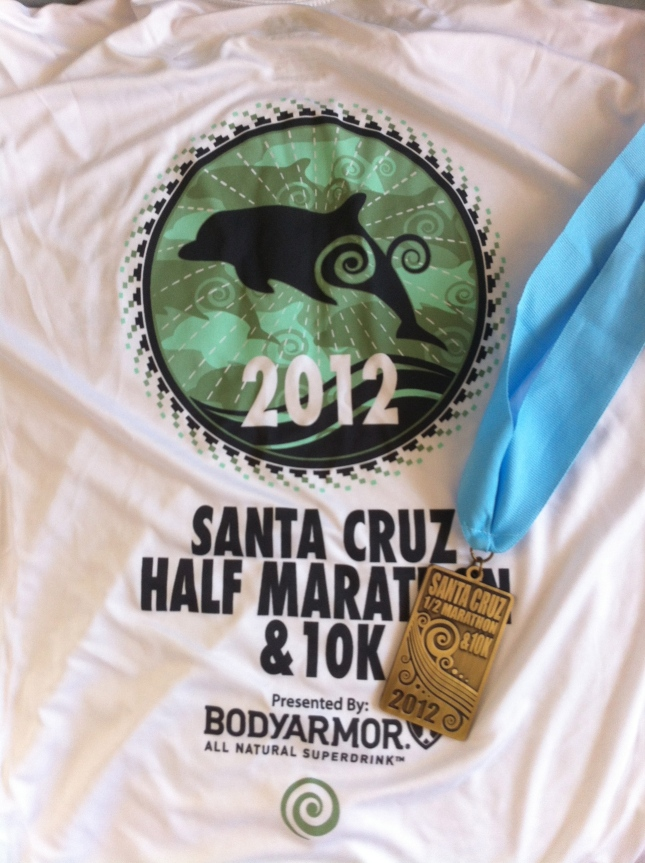 Santa Cruz Half Marathon Finisher Medal and Shirt
