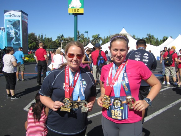 Heather & I with our Marathon, Disneyland Half and Coast to Coast Medals!