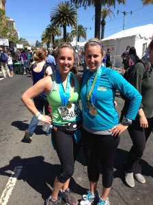 My cousin Michaela and I after the SF Half Marathon